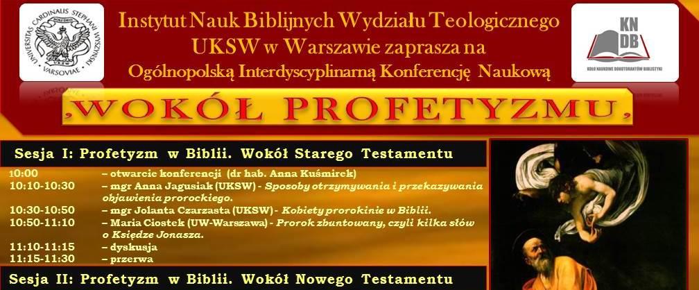 """Konferencja Naukowa """"Wokół Profetyzmu"""""""