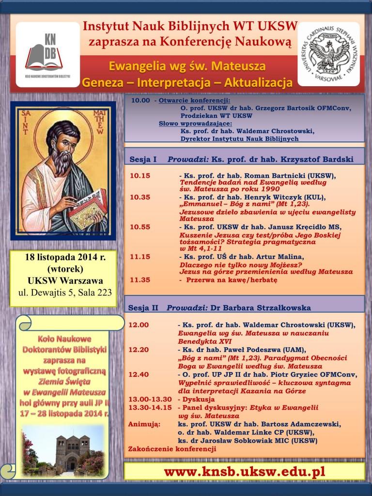 """Konferencja """"Ewangelia wg św. Mateusza"""" - program"""
