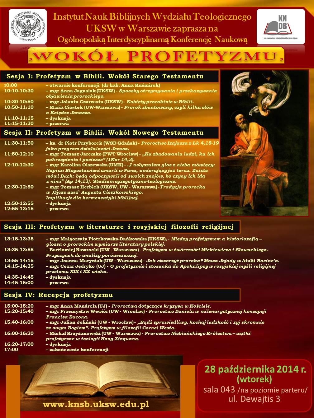"""Konferencja """"Wokół profetyzmu"""" - program"""