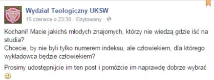 Facebook - Wydział Teologiczny UKSW, 15 czerwca 2015