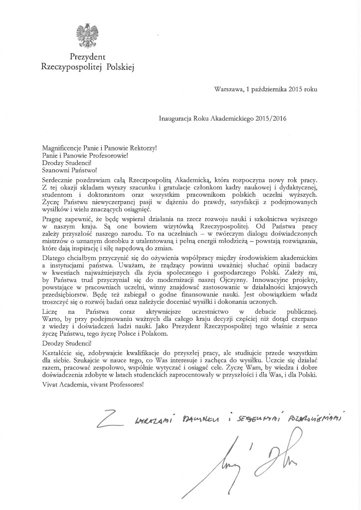 20151001_list_inauguracja_roku_akademickiego