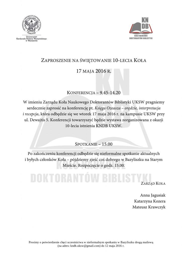 zaproszenie na 10-lecie KNDB