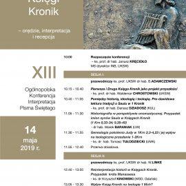 """Konferencja """"Księgi Kronik – orędzie, interpretacja i recepcja"""""""