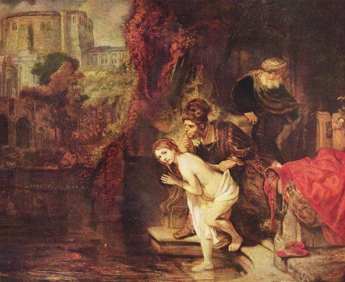 Rembrandt van Rijn, Zuzanna i starcy (1636). Źródło Domena publiczna,:Wikimedia Commons
